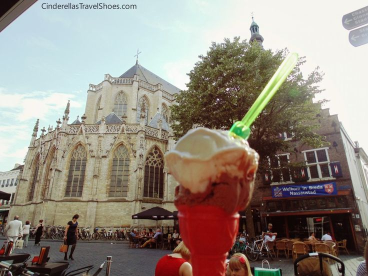 An ice-cream in front of the Gotic Catedral rote Kerk Breda