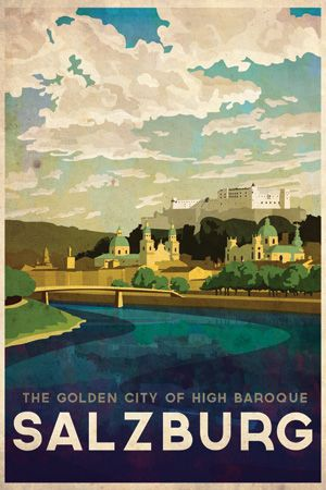 Austria Salzburg Vintage Style Travel Poster