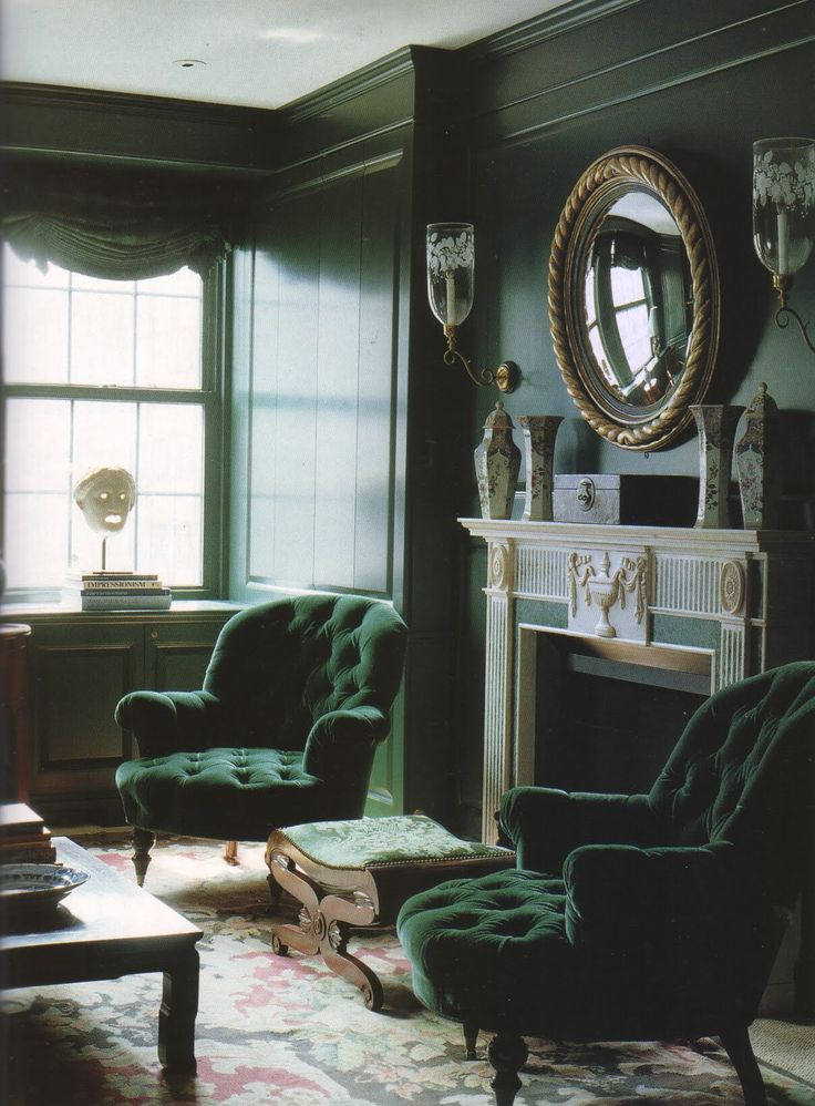 Photograph by Henry Bourne for an article written by Carol Prisant about an Red, cream and dark brown Aubusson rug in interior by William Diamond and Anthony Baratta published in The World of Interiors, January 1994. Amazing--love the shade of green  Love the lacquered walls- great chairs and Aubusson rug.