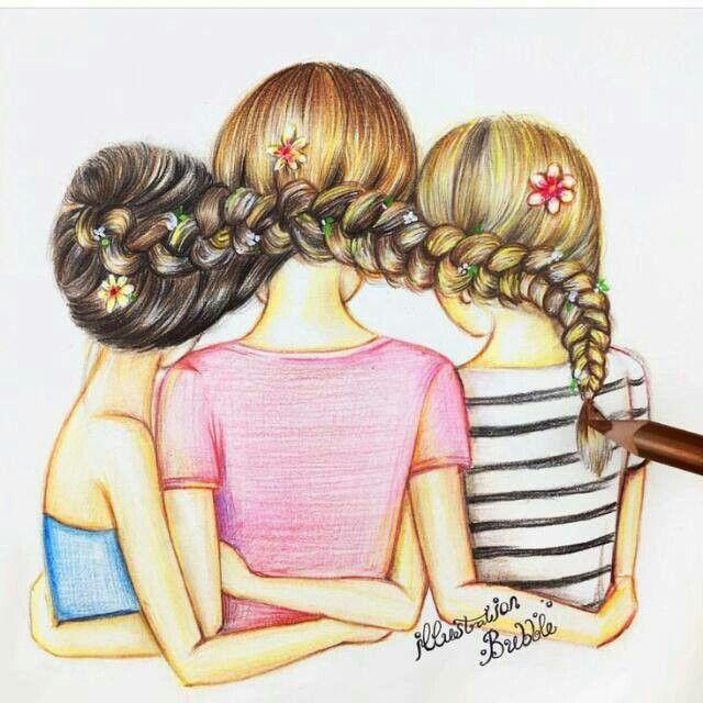 3 beste Freunde für immer verbunden, nett, aber ein bisschen schwierig. ❤
