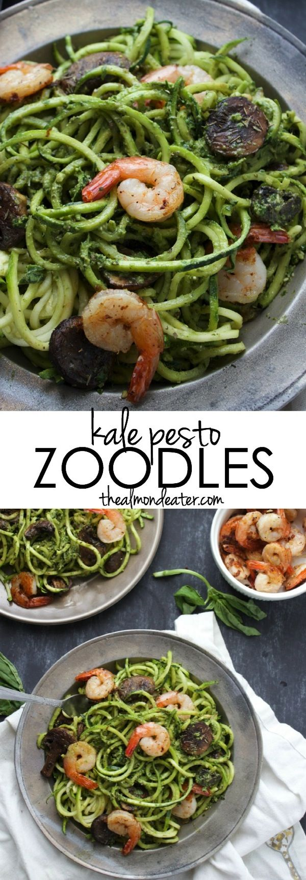 Delicious zoodles covered in a creamy kale pesto sauce topped with sautéed mushrooms and shrimp--ready in under 30 mins! #zoodles