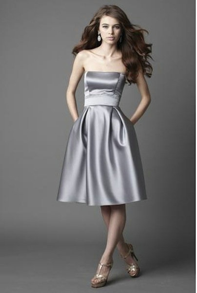 Ruched A Line Sweetheart Strapless Silver Bridesmaid Gowns