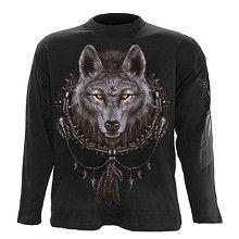 Wolf Dreams, gothic fantasy metal wolven mannen shirt met lange mouwen zwart