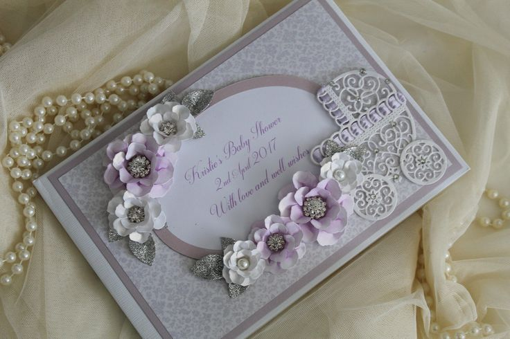 Lilac and silver baby shower guest book, new baby gift , personalised scrap book , baby girl gift, lilac baby shower decorations, new mum by Laceylolas on Etsy