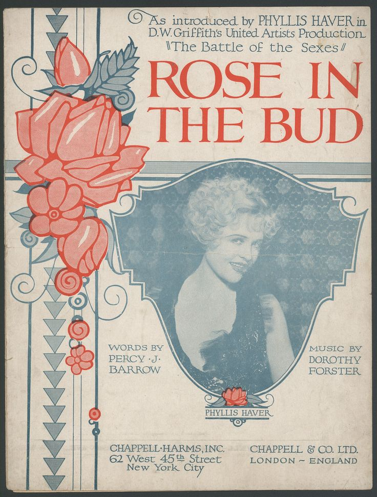 """This sheet music for the song, """"Rose in the Bud"""" was written by Percy J. Barrow and composed by Dorothy Forster. Published in 1907. The cover features a photograph of actress Phyllis Haver in the center of the page looking coquettishly at the viewer. There is also a rose design on the left side of the cover."""