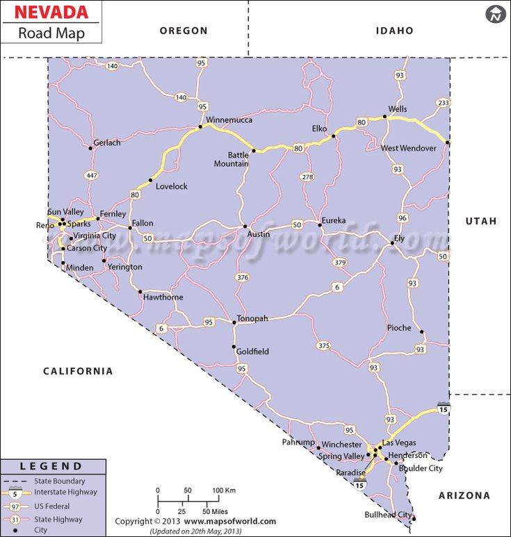 Nevada Road Map Highlights The Major Roads State Highways And Important Cities In Nevada State Of Us