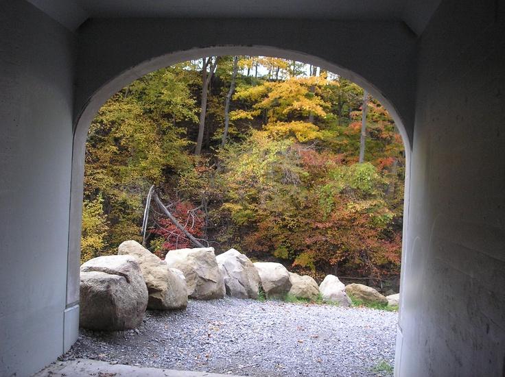 archway at Akron Falls Park 10/2010 fall foliage