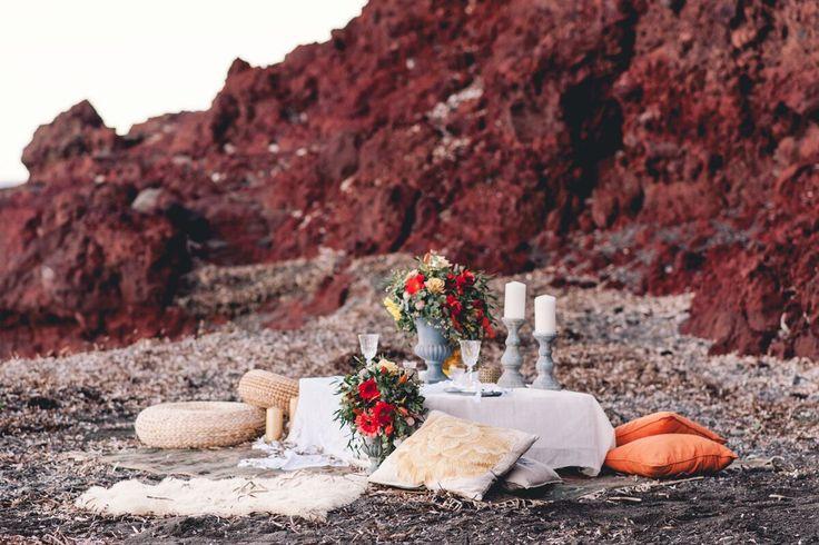 Colorful Bohemian Wedding Inspiration off the Coast of Santorini- table design- floral arrangement