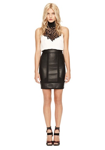 Women's Designer Clothes | Nicole Miller Official Site, NIMI-3312 LEATHER COMBO SKIRT, nicolemiller.com