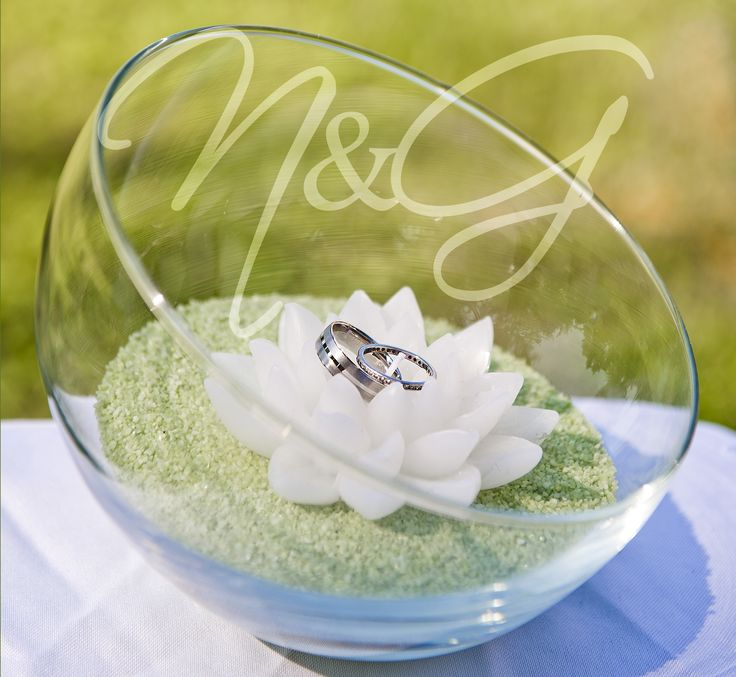 wedding rings in a bowl orchid