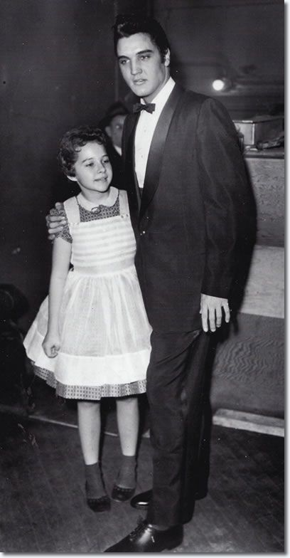 Brenda Lee aged 13 and Elvis.    This was Brenda's first Grand Old Opry Performance; December 1957 at the Ryman Auditorium in Nashville, Tennessee. She met Elvis Presley for the first time which is said to be one of her fondest memories'.