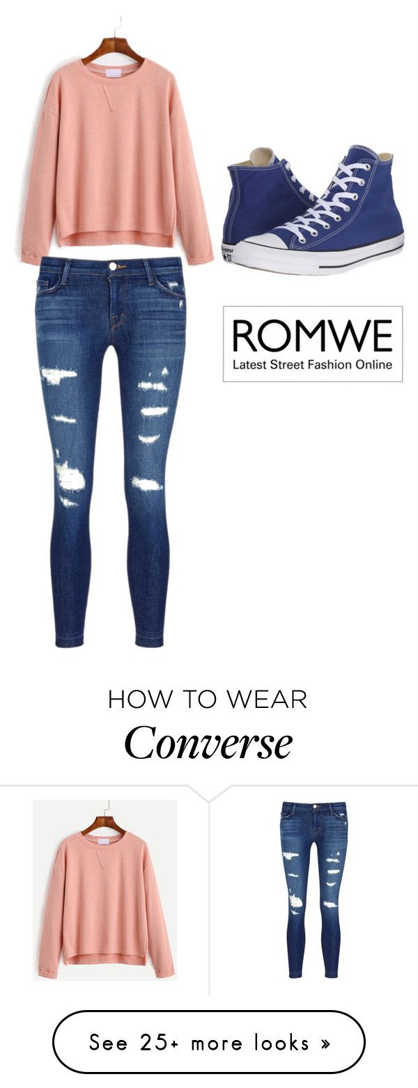 """Romwe"" by erna-pozderovic on Polyvore featuring J Brand and Converse"