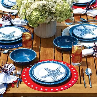Set A Relaxed Tone For Outdoor Dining With The Calming Colors And Creatures  Of The Sea. Our Exclusive Marina Melamine Dinnerware Features Delicate ...