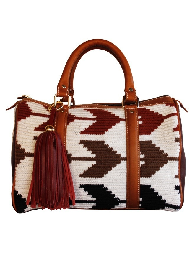 Artisan crafted handbag, woven tribal Wayuu print, tassel detail and adjustable shoulder strap