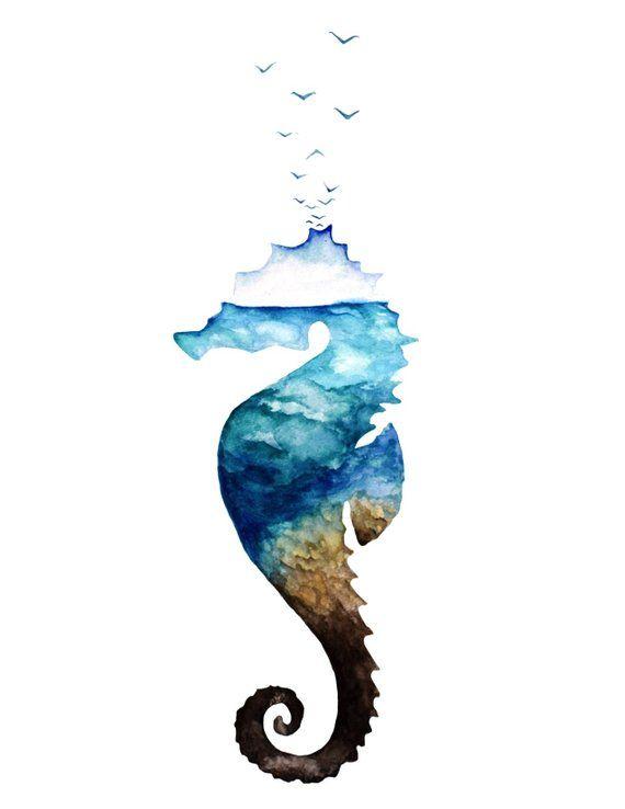 Ocean Seahorse Watercolor Seahorse Painting Ocean Life Ocean