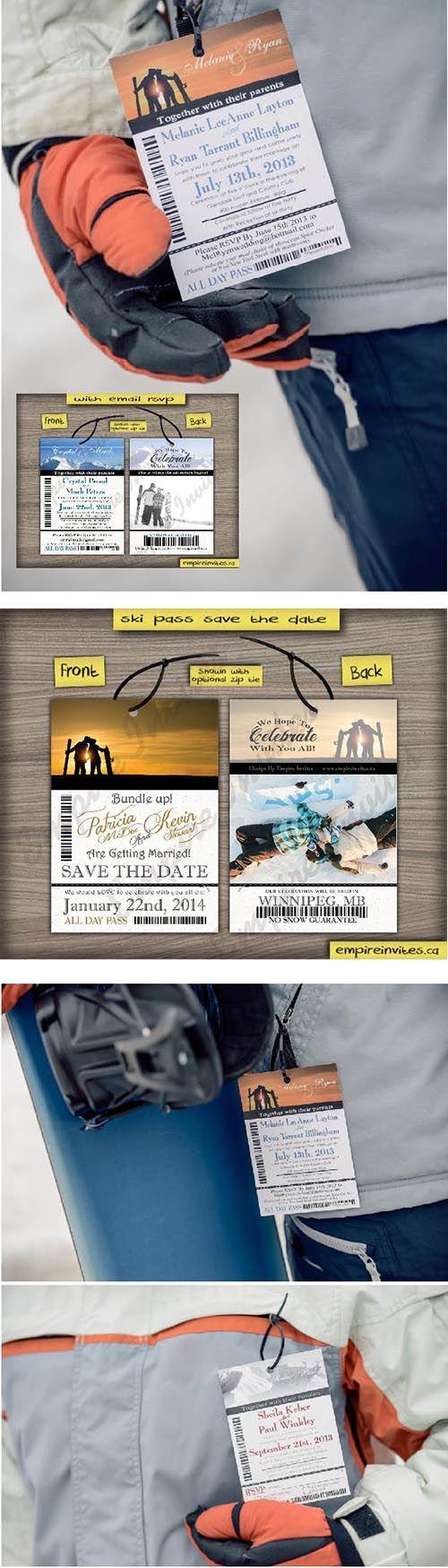 LOVE!! - 100% customizable by www.empireinvites.ca! Ski Pass / Lift Ticket Save The Date Wedding Passes