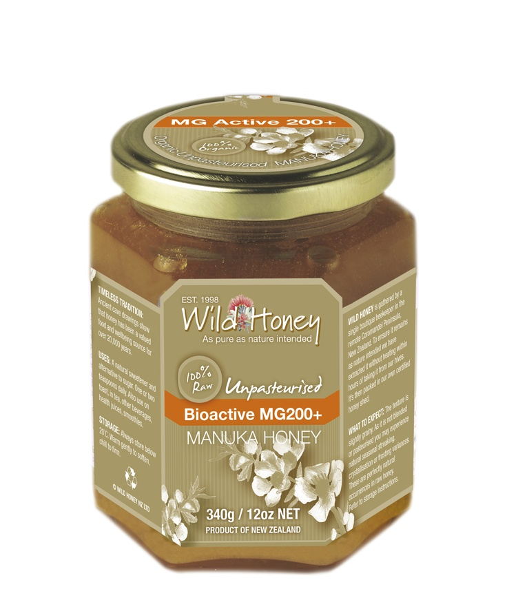 Wild Honey Bioactive  MG200+ RAW UNPASTEURISED Manuka Honey 340g - Buy on Line in UK or from most Independent Organic Stores throughout UK and Ireland  www.ethicallyessential.coop.
