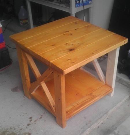 Diy furniture diy not so rustic x end table furniture for Diy rustic end tables