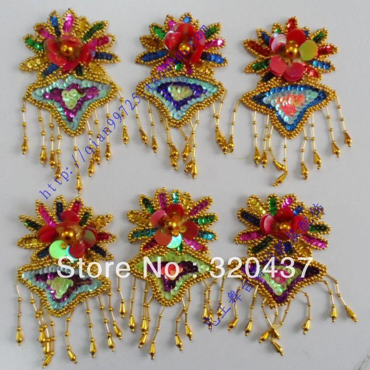 Sequin patches pailletten haar accessoire paillette bloem patches multicolor kralen bloem applique kostuum accessoires 8.5*16 cm in productdetails van patches op AliExpress.com   Alibaba Groep