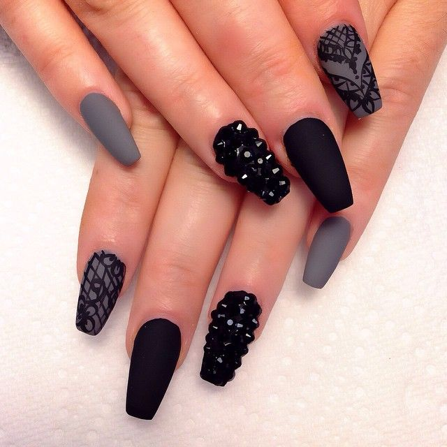20 best nails images on pinterest nail art designs pretty nails i did it again i cant never get tired of this design black coffin nailsgrey matte prinsesfo Image collections