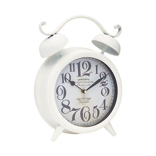 "Modern Farmhouse Home Decor: rustic antique white clock  Metal Alarm Clock, Cream, 9"" x 12""  //  $9.99"