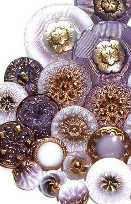 Vintage glass buttons ~ purple and gold