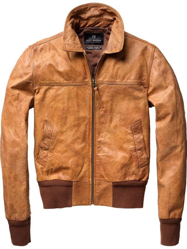 scotch soda short leather bomber jacket vintage clothing. Black Bedroom Furniture Sets. Home Design Ideas
