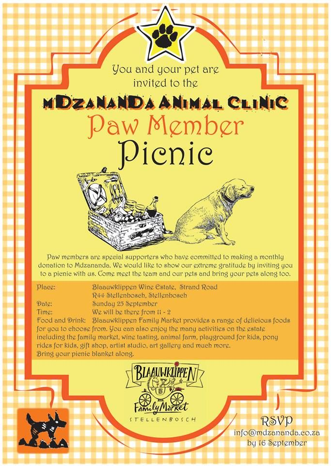 You and your pet are invited to join us at our PAW picnic