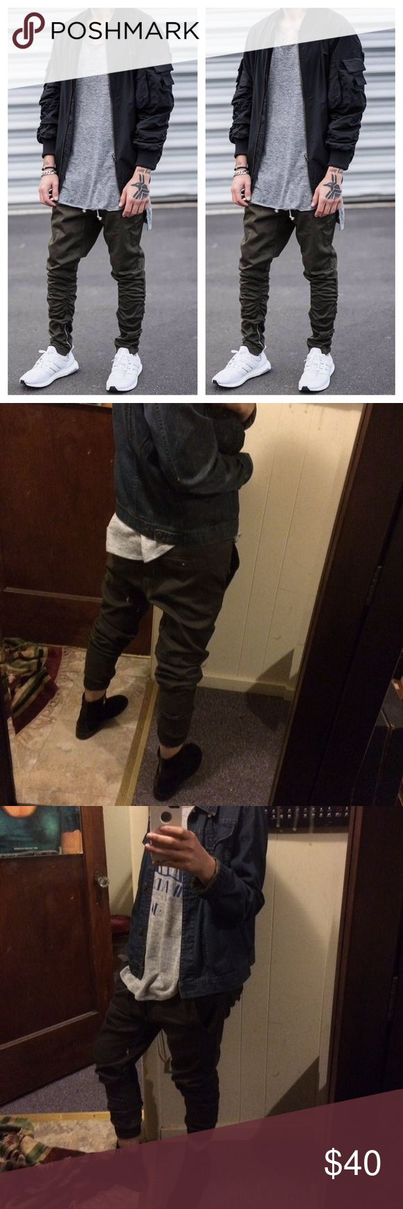 ASOS Mens jogger These are not sweatpants material they are chino pant material. Size small in men's, waist is 34. They are army green/ grey. Photo shown is actual promo pic. All photos are of the actual jogger. ASOS Pants Sweatpants & Joggers