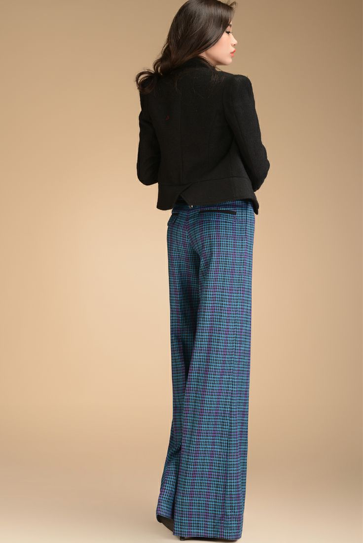 Aliexpress.com  Buy 2013 Autumn Fashion Formal Womens High Waist Blue Plaid Trousers  Elegant ...
