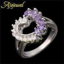 18K White Gold Plated Red/ Purple Zircon Stone Love Heart Ring Wedding Engagement Rings 2014 Ajojewel Brand