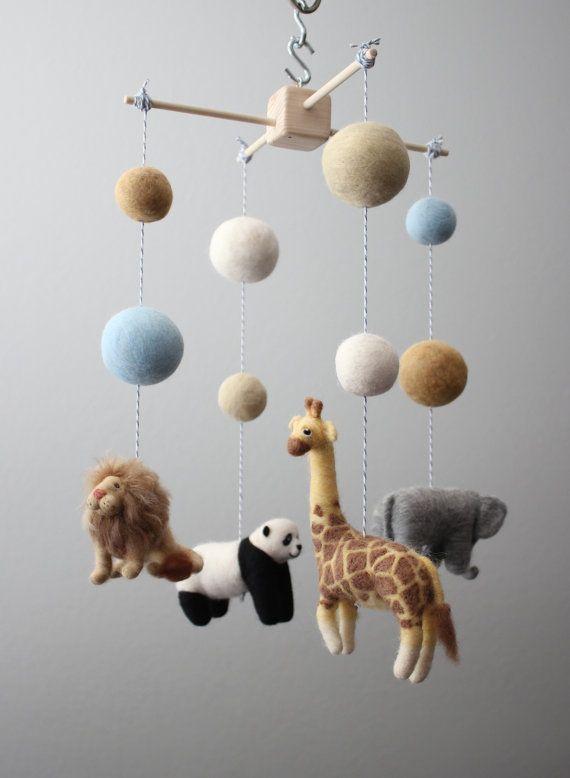 Needle Felted Baby Safari Animal Nursery Mobile by MerleyBird, $220.00