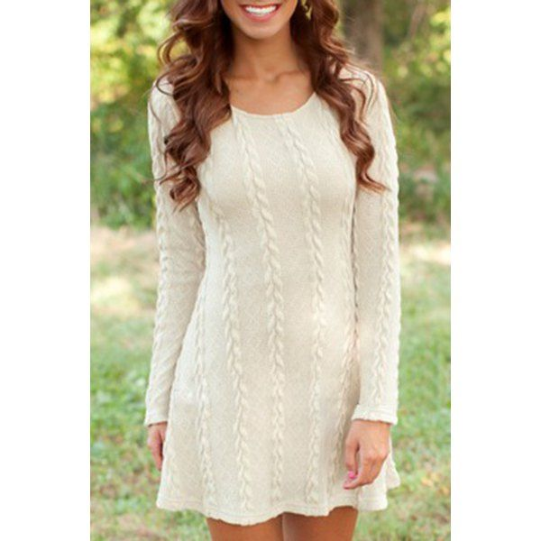 Graceful Scoop Neck Long Sleeve Pure Color Knitted Women's A-Line Dress
