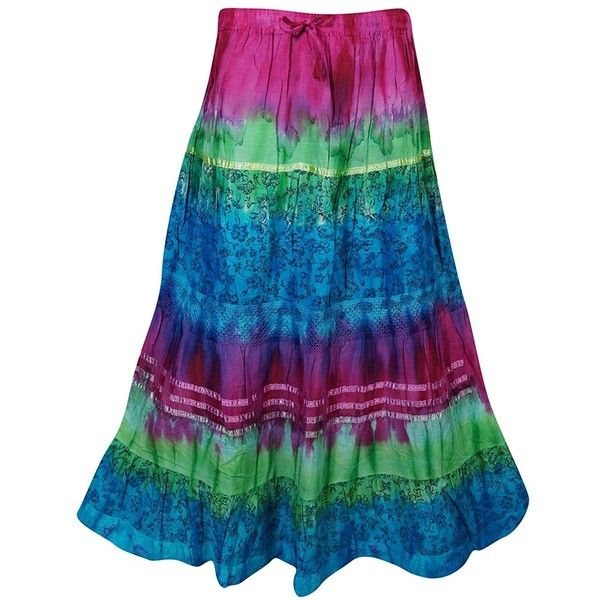 Mogul Womens Festive Skirt Tie Dye Colorful Vintage Crinkle Flare... (£38) ❤ liked on Polyvore featuring skirts, crinkle maxi skirt, tie-dye skirt, gypsy skirt, long skirts and tie-dye maxi skirts