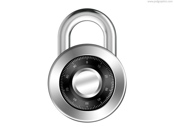 Combination padlock icon, silver lock with password security. Web and computer security and safety symbol.