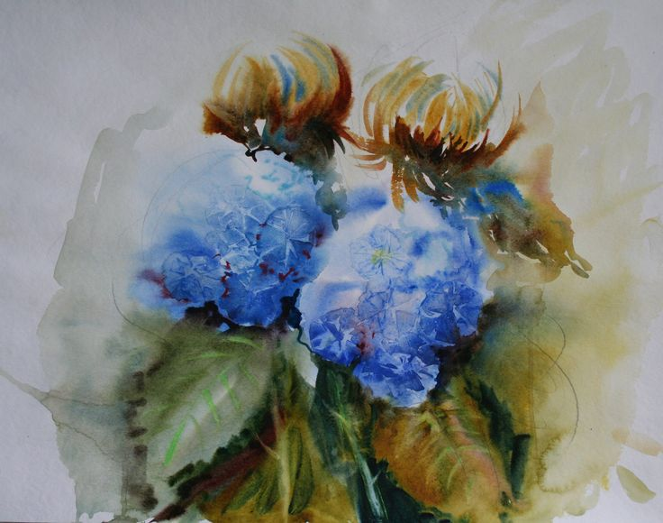 Olga Vinnitskaya. Hortensien. Aquarell mit Frischhaltefolie.