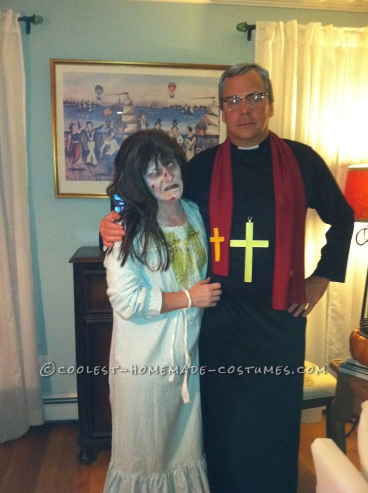 Scary Couple Costume from Exorcist: Regan and Priest… Coolest Halloween Costume Contest