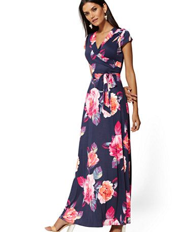 f90526df5da21 Shop Navy Floral Wrap Maxi Dress. Find your perfect size online at the best  price