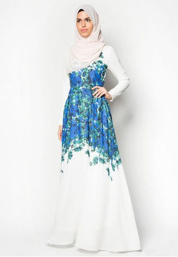 Placement Print Fit And Flare Maxi Dress