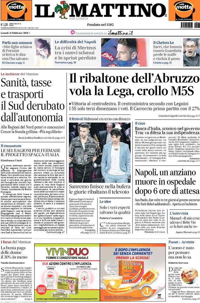 Rassegna Stampa Del 12 Febbraio 2019 Le Prime Pagine Dei Quotidiani In Edicola 12 Febbraio Notizie Febbraio