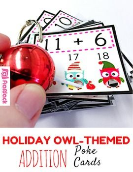 Poke games are a creative, simple, self-checking way for students to practice their addition facts. And the cute holiday owl design is perfect for the Christmas season. My students love them!See how poke cards work in my Poke Cards Video.All addition facts 1-12 are included in this 12-page resource containing 144 cards.