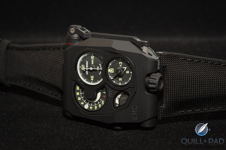 The yellow/green numbers and white lines contrast nicely against the black dials of the Urwerk EMC Black