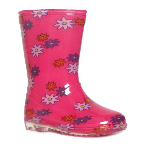 Girls Multi Coloured Pink Flower Wellington Boots. Size 10