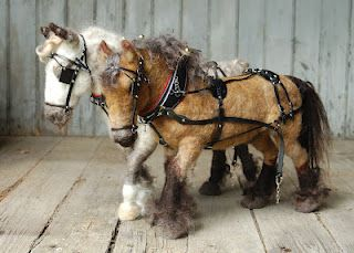 Needle Felted Draft Horses with Leather Harnesses.  heart felt fun: Summer Pace: Draft Horse Pair