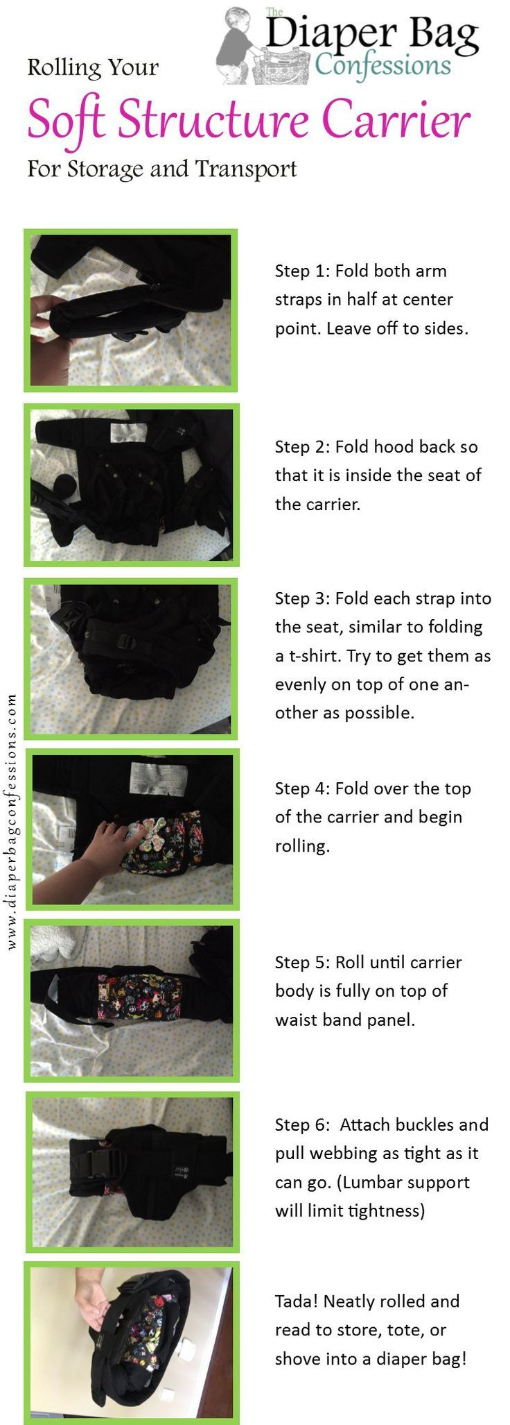 How to roll a Soft Structure Carrier for easy transporting and storing.   Lillebaby, Boba, Ergo Baby, Beco
