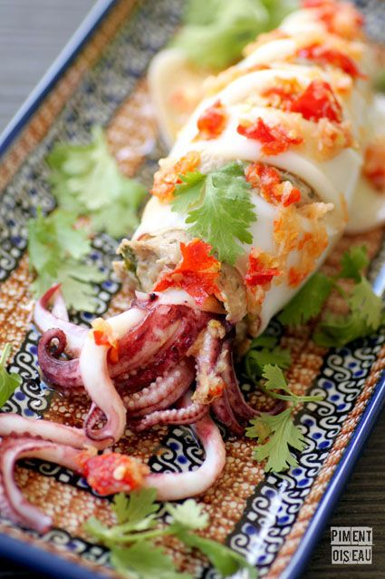 Calamar farci à la thaïe - Thai style stuffed squid