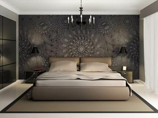 Voorbeeld van een baroque fotobehang voor de slaapkamer. An example of a baroque wallprint in a bed room. Un exemple d'un papier peint photo baroque dans un chambre à coucher.