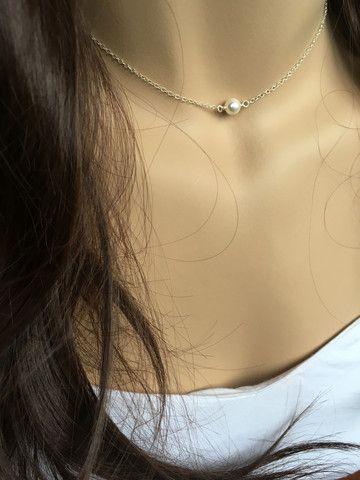 Choker Swarovski PEARL SOLITAIRE 925 Sterling Silver Necklace – Deluxur