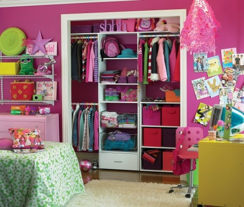 Im so doing this to Savannah's closet! ClosetMaid - another idea for doorless closet for the girls room - just add curtain rod at the top.  I'd make both sides the same as the left in the photo so Olivia and Nora could reach their school clothes.
