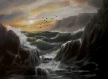 "Saatchi Art Artist ΑγγελικΗ  Aggeliki; Painting, ""Tempest"" #art  Oil on canvas 39X50x2cm"